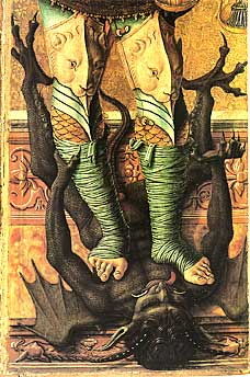 medieval egg tempera painting the devil and demons in